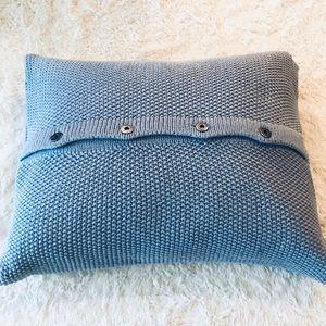 Woolrich Blue Knit Button Detail Feather Pillow